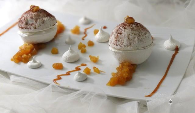 Sphère meringuée, ganache montée au miel, coeur de pommes façon tatin - Il était une fois My Cakes